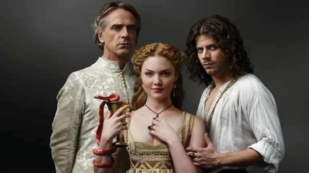 Showtimes 'The Borgias' - starring François Arnaud as Cesare Borgia, Jeremy Irons as Rodrigo Borgia (Pope Alexander VI), and Holliday Grainger as Lucrezia Borgia.