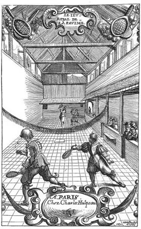 Copper engraving of a French Jeu de Paume during the 17th century.