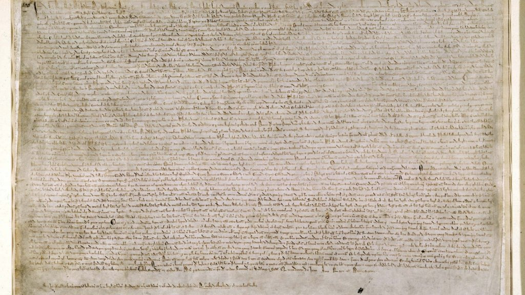 This is one of the two Magna Carta owned by the British Library (c) The British Library Board