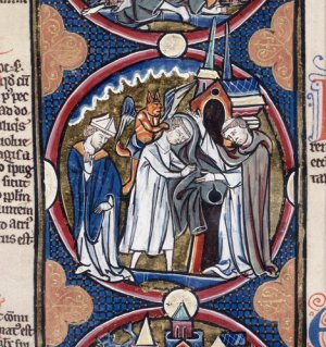 Detail of a roundel miniature of a cleric removing his robe, with a devil on his shoulder.  - Harley 1527 f.33 (min)