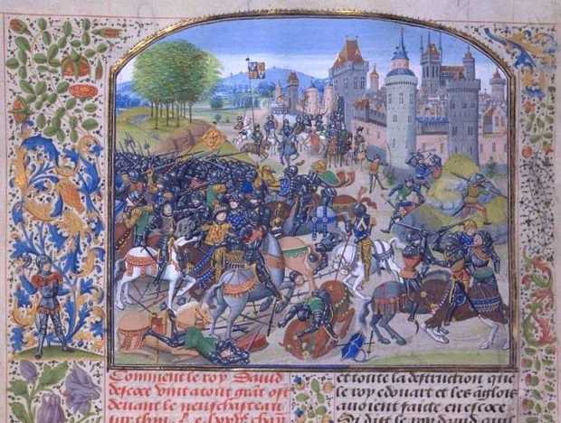 Battle of Neville's Cross from a 15th-century Froissart manuscript (BN MS Fr. 2643).