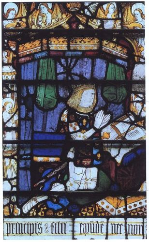 Prince Arthur, stained glass figure in the north transept, magnificat window of the priory church, Great Malvern, Worcestershire