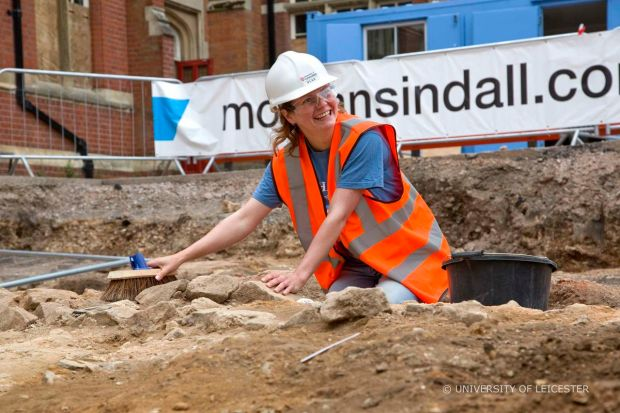 Richard III Outreach Officer Charlotte Barratt didn't just blog  about the dig, she got stuck in and had a go. Photo credit: University of Leicester