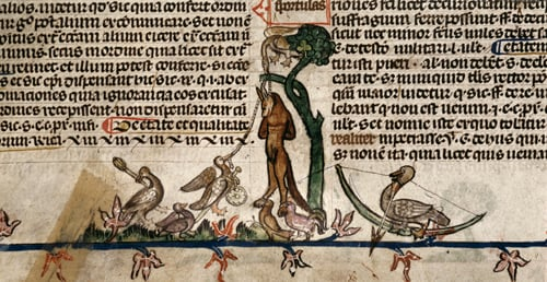 Medieval animals acting as humans -- from Royal 10 E.IV, f.48v