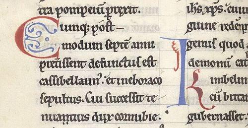 Decorated initials 'C'(umque) and 'K'(imbelinus) in Geoffrey of Monmouth's Historia regum Britanniae. Photo courtesy British Library