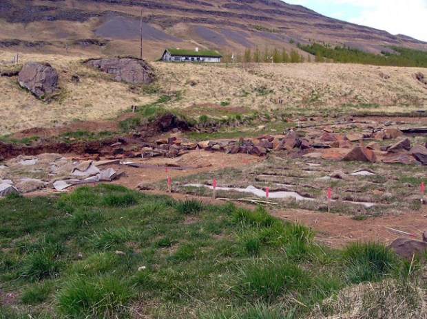Excavation site of Skiðklaustur in Iceland from the fifteenth century. Photo by Christian Bickel