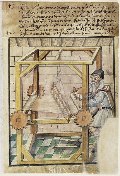 16th century depiction of a loom