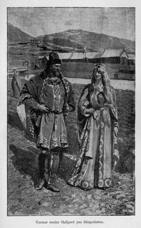 From Njáls saga: Gunnar Hámundarson meets Hallgerðr for the first time at Alþingi - 19th century image