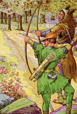 Robin shoots with sir Guy by Louis Rhead 1912