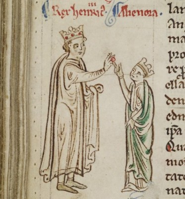 Detail of a marginal drawing of the marriage of Henry III and Eleanor of Provence