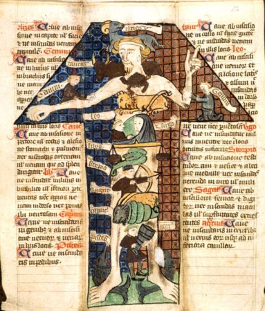 A Zodiac illustration from a medical almanac, 1399. The man's pointing finger serves as a warning against the powerful forces of the stars. Photo courtesy British Library