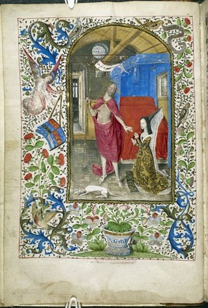 Miniature of Margaret of York before the resurrected Christ, Additional 7970, f. 1v