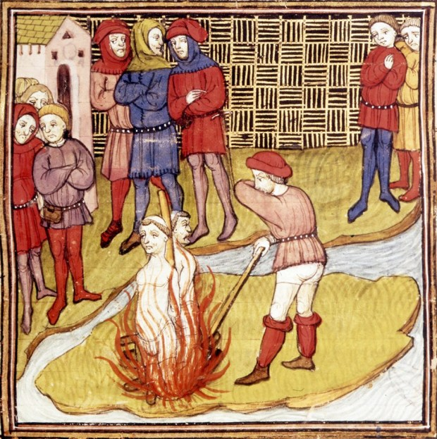 Detail of a miniature of the burning of the Grand Master of the Templars and another Templar. From the Chroniques de France ou de St Denis, BL Royal MS 20 C vii f. 48r