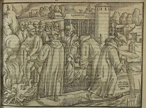 John Wycliffe's bones being burnt in 1428. From John Foxe's book (1563)