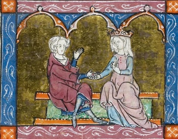 Queen Guinevere questioning Lancelot about his love for her