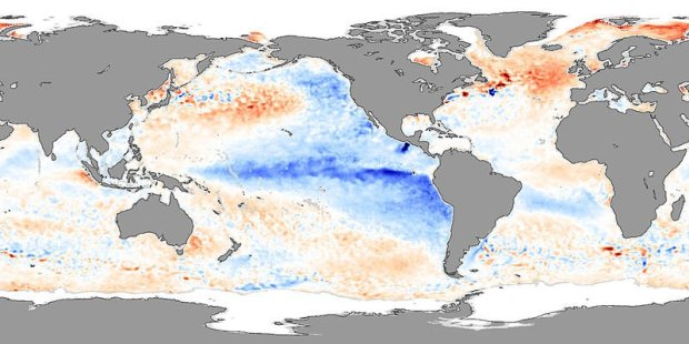 During La Niña, sea surface temperatures in the eastern tropical Pacific are below average, and temperatures in the western tropical Pacific are above average. This pattern is evident in this temperature anomaly image for November 2007.