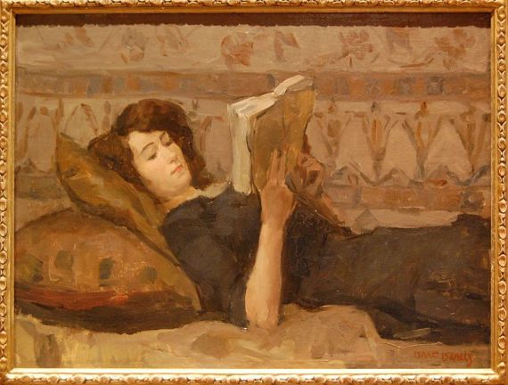 Girl reading on a divan, by Isaac Lazarus Israëls