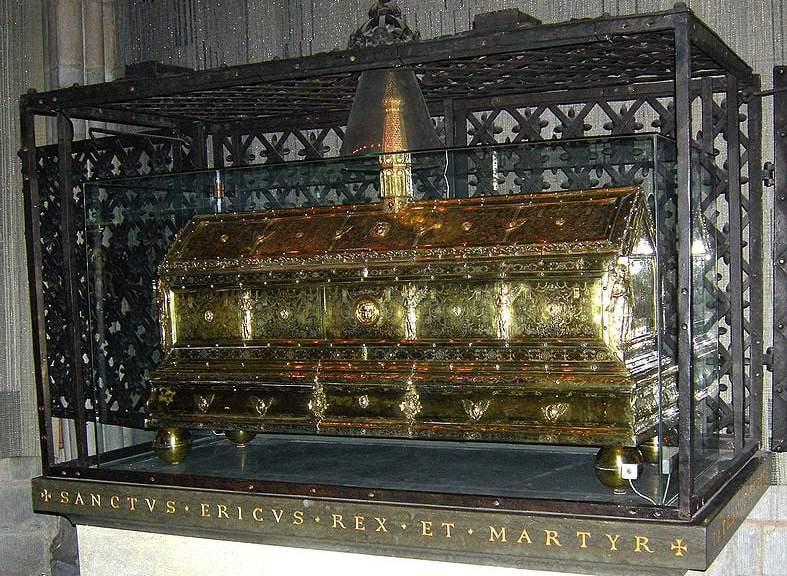 Casket of King Erik iX in Uppsala Cathedral.