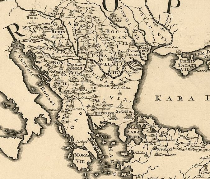 18th century map of the Balkans