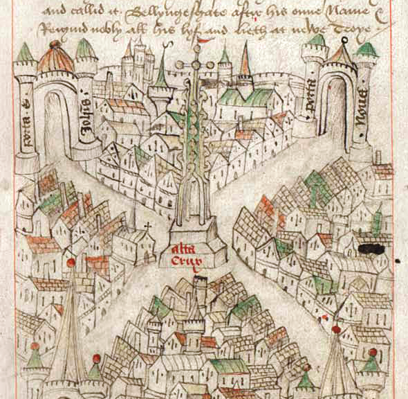 Map of Bristol from The Maire of Bristowe is Kalendar (dated circa 1479) by Robert Ricart, the common clerk of Bristol from 1478 to 1506. (Wikipedia)