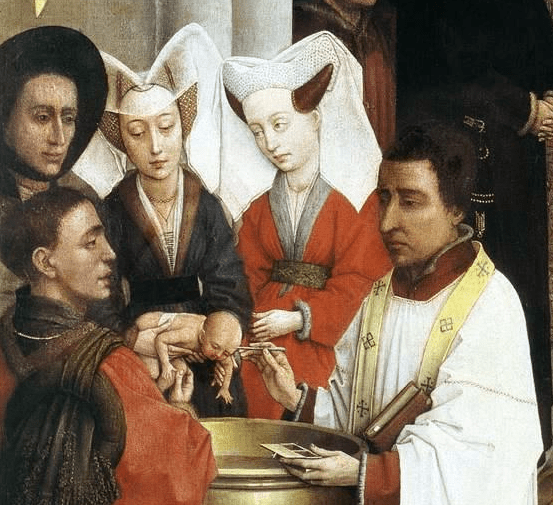 infant baptism - painting by Rogier van der Weyden (1399/1400–1464)