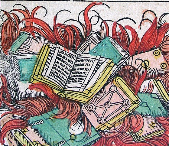 Book burning in the Nuremberg chronicles