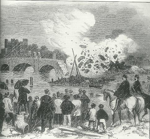 Gunpowder used to destroy  Rochester Bridge in the 19th century