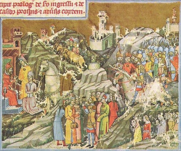 Hungarian Conquest of the Carpathian Basin, from the Chronicon Pictum, 1360.