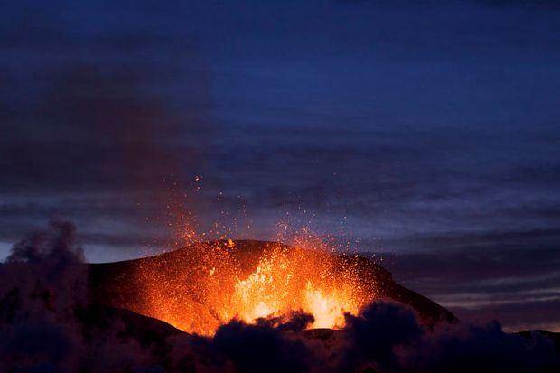 Eruption at Fimmvörðuháls at dusk.