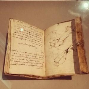 Notebook of Leonardo Da Vinci. Milan, Italy.