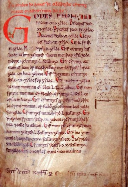 First page of the Textus Roffensis.