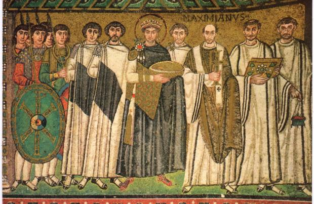Justinian and his attendants - 526-547 AD (Byzantine) San Vitale, Ravenna