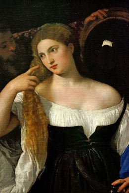Woman with Mirror - 1515 by Titian