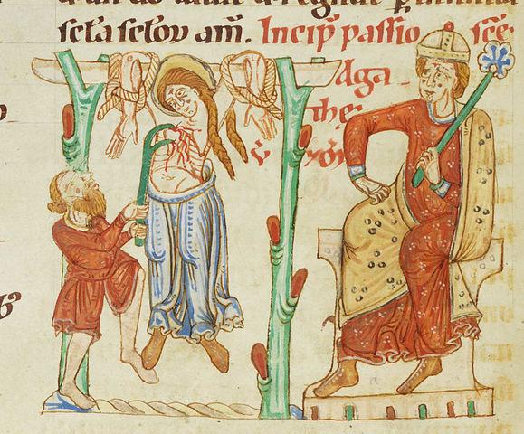 Saint Agatha torture scene - Illumination from the Passionary of Weissenau (Weißenauer Passionale); Fondation Bodmer, Coligny, Switzerland; Cod. Bodmer 127, fol. 39v