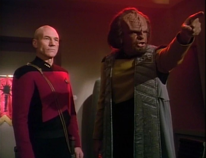 "Richard III with Aliens? Perhaps...Star Trek the Next Generation, Lieutenant Worf and Captain Picard in the episode, ""Sins of the Father"""