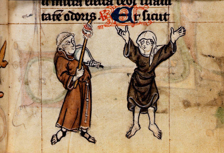 Medieval nun with skirt lifted
