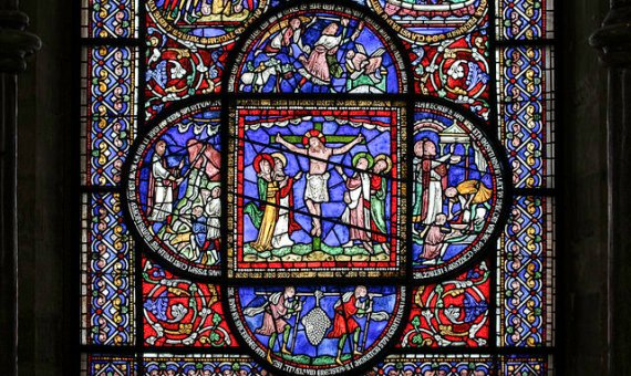 This stained glass window is in the Corona Chapel of Canterbury Cathedral. Photo by Fr Lawrence Lew, O.P. / Flickr