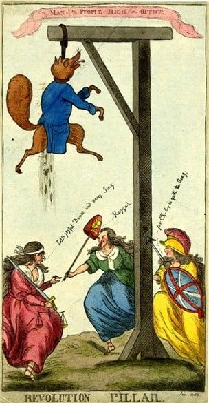 1788 Revolution Pillar parody of Charles Fox. Courtesy of the British Library