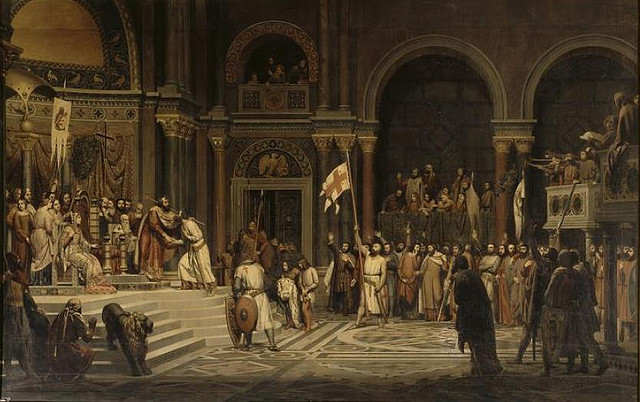 Godfrey of Bouillon before the Byzantine emperor Alexius Comnenus in Constantinople, 1097. Painting by Alexandre Hesse.
