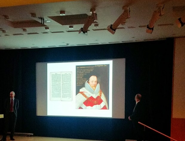 Alexander Lock (left) and Julian Harrison (right) talk about the Magna Carta at a presentation about the 4 year journey to completing the exhibition, Magna Carta: Law, Liberty, Legacy (March 20, 2015) . Photo by Medievalists.net
