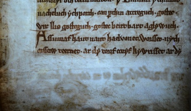 Black Book of Carmarthen  -  New text and image revealed under UV light (f. 39v). - Image courtesy National Library of Wales