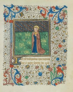 John, the Apostle. 15th century, pigments and gold on parchment, 7 x 5 ½ in (173 x 135 mm). credit: University of Notre Dame, Hesburgh Library, Frag. III.1, fol. 49r.