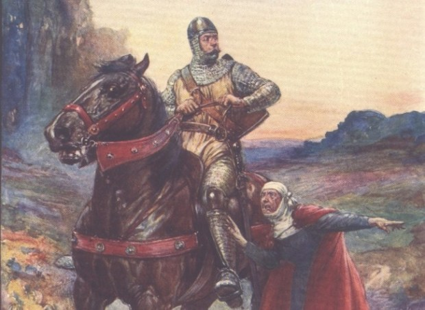 """A depiction of Wallace from H E Marshall's 'Scotland's Story', published in 1906. The scene shows a woman informing Wallace that the Scottish nobles have been massacred in a trap set at the Barns of Ayr. The original caption is, """"Hold you, hold you, Brave Wallace! the English have hanged all your best men like dogs."""""""