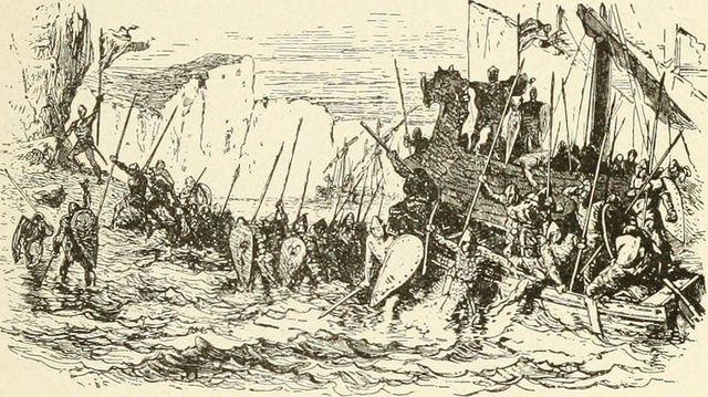 cnut landing - from The story of the middle ages; an elementary history for sixth and seventh grades (1912)