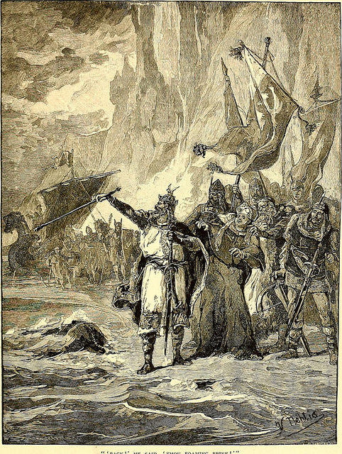 """""""Canute rebukes his courtiers"""" by Alphonse-Marie-Adolphe de Neuville."""