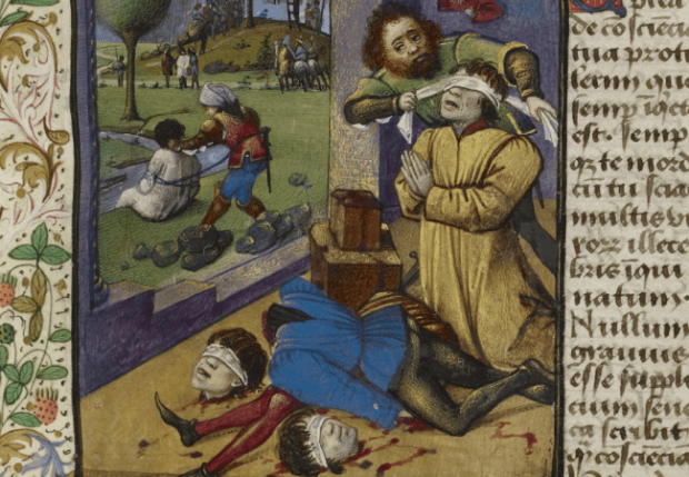 Decapitation scene is from a text written by Aeneas Sylvius Piccolomini (1405–1464)