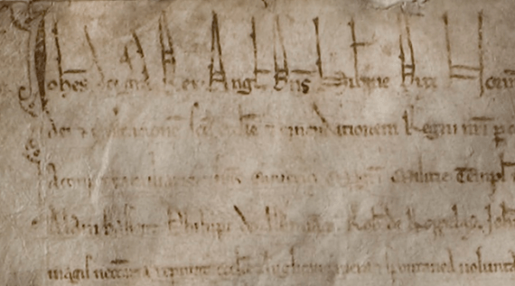 The opening lines of Lincoln Cathedral's copy of the 1215 Magna Carta