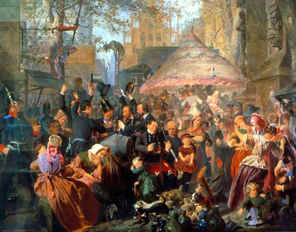 """Jahrmarkt und Volksfest: """"Auf dem Send in Münster"""", 1857. Objekt: Corbould, Edward Henry (1815-1905)"""