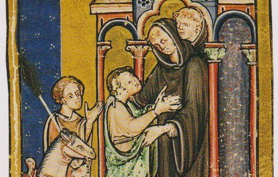 A miniature in the British Library Yates Thomson MS 26, Bede's Prose Life of St Cuthbert, depicting Cuthbert's meeting with Boisil at Melrose