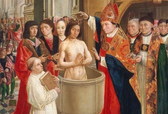 Saint Remigius baptizes Clovis, in a painting of c. 1500